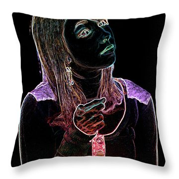 Neon Confrontation Throw Pillow by Betty LaRue