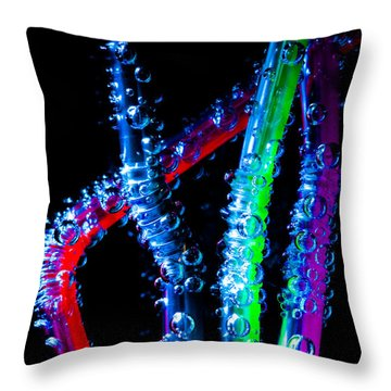 Neon Sparkling Straws Throw Pillow by Marc Garrido