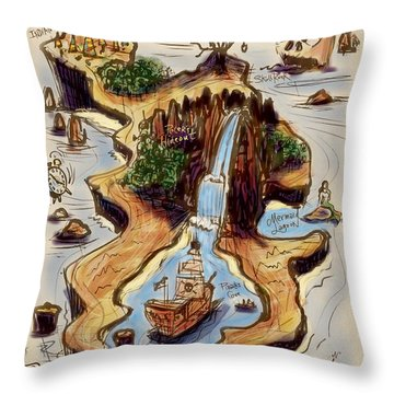 Never Never Land Throw Pillow by Russell Pierce