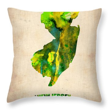 New Jersey Watercolor Map Throw Pillow by Naxart Studio