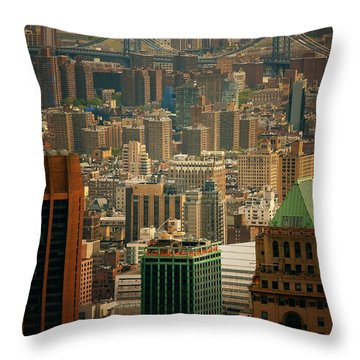 New York City Buildings And Skyline Throw Pillow by Vivienne Gucwa