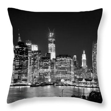 New York City Bw Tribute In Lights And Lower Manhattan At Night Black And White Nyc Throw Pillow by Jon Holiday