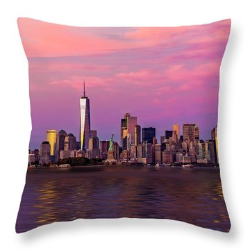 New York City Nyc  Landmarks Throw Pillow by Susan Candelario