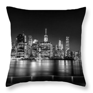 New York City Skyline Panorama At Night Bw Throw Pillow by Az Jackson