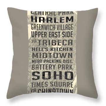 New York City Subway Stops Vintage Map 5 Throw Pillow by Edward Fielding