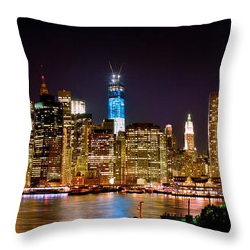 New York City Tribute In Lights And Lower Manhattan At Night Nyc Throw Pillow by Jon Holiday