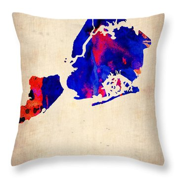 New York City Watercolor Map 1 Throw Pillow by Naxart Studio