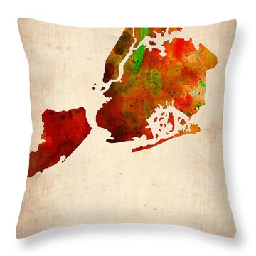 New York City Watercolor Map 2 Throw Pillow by Naxart Studio