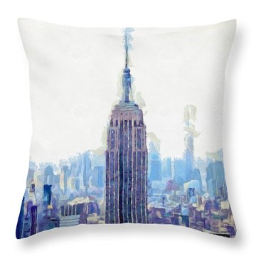 New York Skyline Art- Mixed Media Painting Throw Pillow by Wall Art Prints