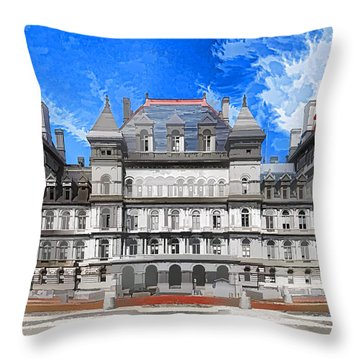 New York State Capitol Throw Pillow by Lanjee Chee