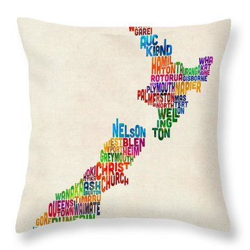New Zealand Typography Text Map Throw Pillow by Michael Tompsett
