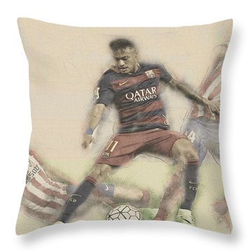 Neymar Fight For The Bal Throw Pillow by Don Kuing