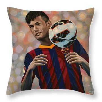 Neymar Throw Pillow by Paul Meijering