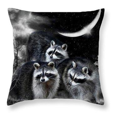 Night Bandits Throw Pillow by Carol Cavalaris