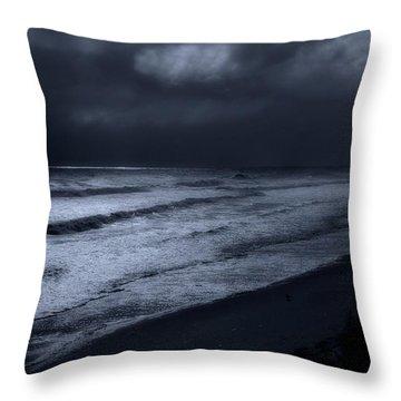 Night Beach - Jersey Shore Throw Pillow by Angie Tirado