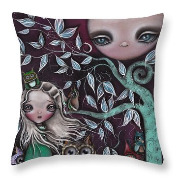 Night Creatures Throw Pillow by  Abril Andrade Griffith