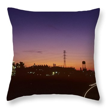 Night View Of An Industrial Plant Throw Pillow by Kenneth Garrett