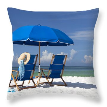No Worries Throw Pillow by Janet Fikar