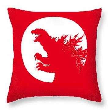 No029-1 My Godzilla 1954 Minimal Movie Poster Throw Pillow by Chungkong Art