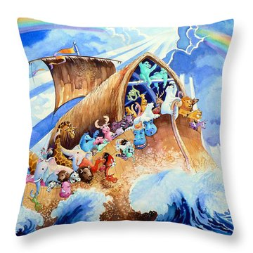 Noahs Ark Throw Pillow by Hanne Lore Koehler