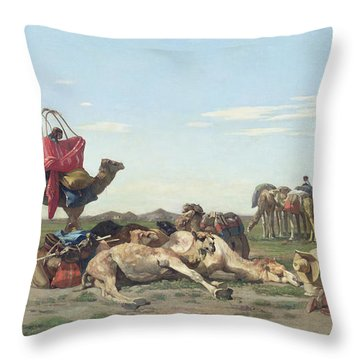Nomads In The Desert Throw Pillow by Georges Washington