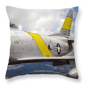 North American F-86 Sabre Throw Pillow by Larry McManus