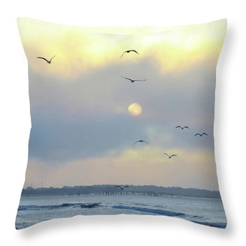 North Wildwood Beach Throw Pillow by Bill Cannon
