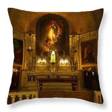 Notre-dame-de-bon-secours Chapel Throw Pillow by Deborah Benoit