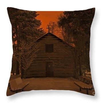 Notre Dame Log Chapel Winter Night Throw Pillow by John Stephens