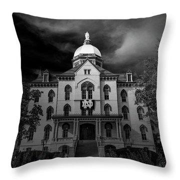 Notre Dame University Black White 3a Throw Pillow by David Haskett