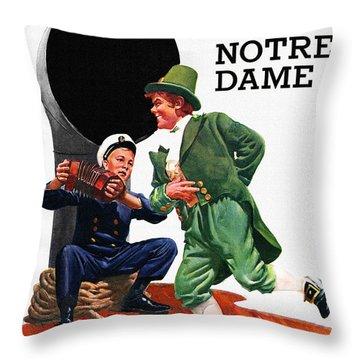 Notre Dame V Navy 1954 Vintage Program Throw Pillow by Big 88 Artworks