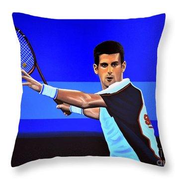 Novak Djokovic Throw Pillow by Paul Meijering