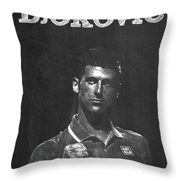 Novak Djokovic Throw Pillow by Semih Yurdabak