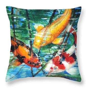 November Koi Throw Pillow by Patricia Allingham Carlson