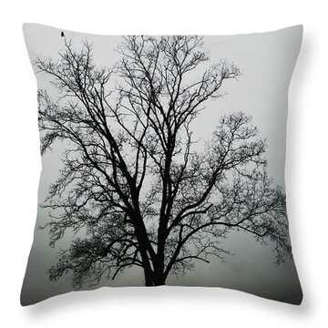 November Tree In Fog Throw Pillow by Patricia Motley