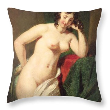 Nude Throw Pillow by William Etty
