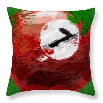 Number Seven Billiards Ball Abstract Throw Pillow by David G Paul