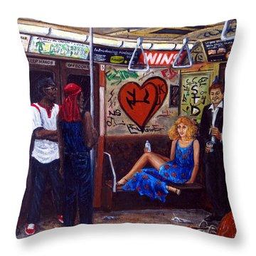 Ny City Subway In The 70 Throw Pillow by Leonardo Ruggieri