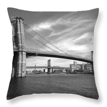 Nyc Brooklyn Bridge Throw Pillow by Mike McGlothlen