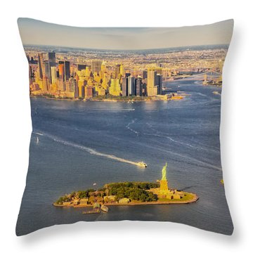 Nyc Iconic Landmarks Aerial View Throw Pillow by Susan Candelario
