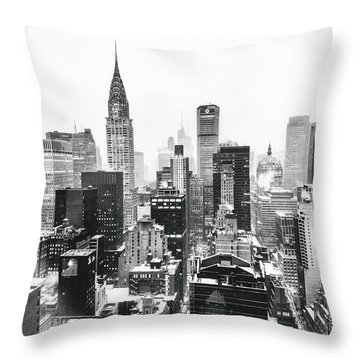 Nyc Snow Throw Pillow by Vivienne Gucwa