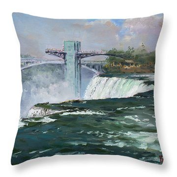 Observation Tower In Niagara Falls Throw Pillow by Ylli Haruni