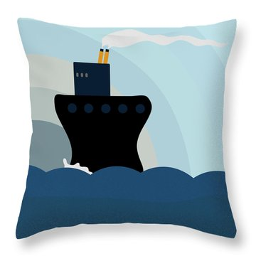 Ocean Liner Throw Pillow by Frank Tschakert