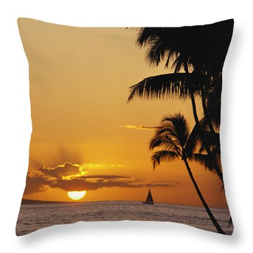Ocean Sunset Throw Pillow by Erik Aeder - Printscapes