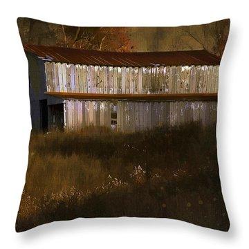 October Barn Throw Pillow by Ron Jones