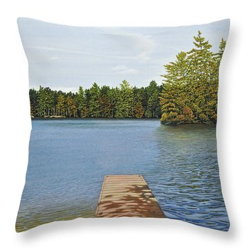 Off The Dock Throw Pillow by Kenneth M  Kirsch