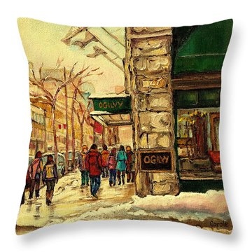 Ogilvys Department Store Downtown Montreal Throw Pillow by Carole Spandau