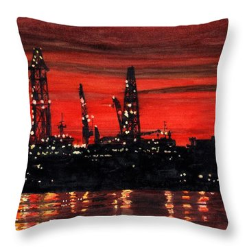 Oil Rigs Night Construction Portland Harbor Throw Pillow by Dominic White