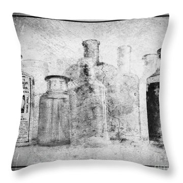 Old Bottles With Texture  Bw Throw Pillow by Barbara Henry