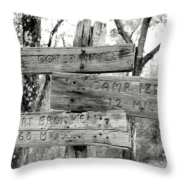 Old Directional Signs At Fort Cooper  Throw Pillow by Debra Forand